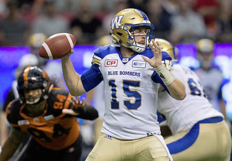 Bombers quarterback Matt Nichols was injured in a Week 10 game against the B.C. Lions.