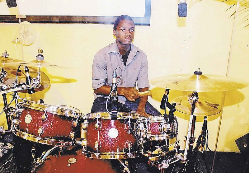 Sackey on the drum kit. (Supplied)