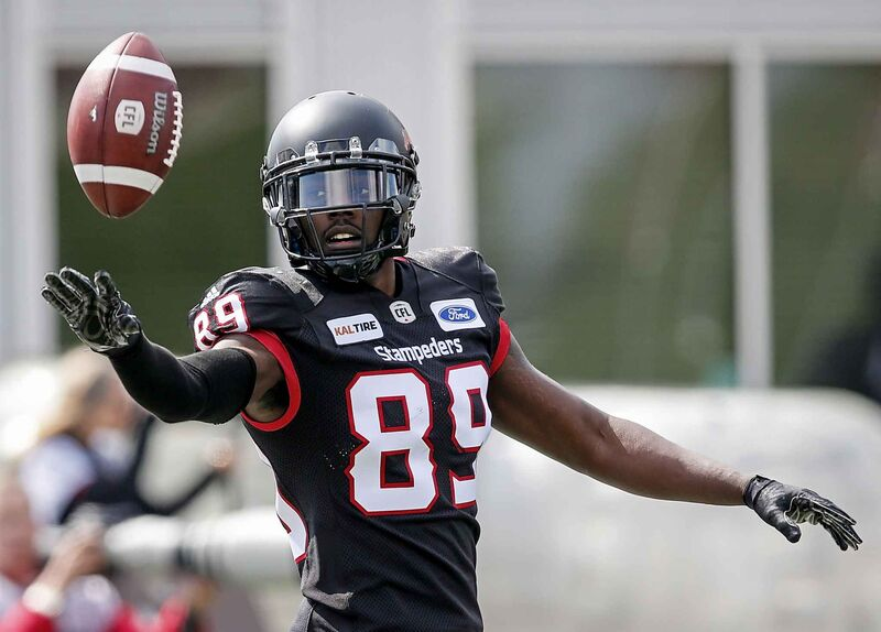DaVaris Daniels as a member of the Stampeders in 2018. (Jeff McIntosh / The Canadian Press files)