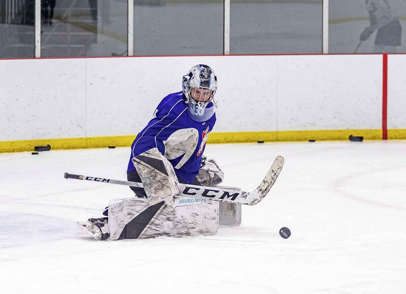Goalie Duncan McGovern runs through drills during a practice at the Rink Training Centre in Oak Bluff Tuesday Morning.