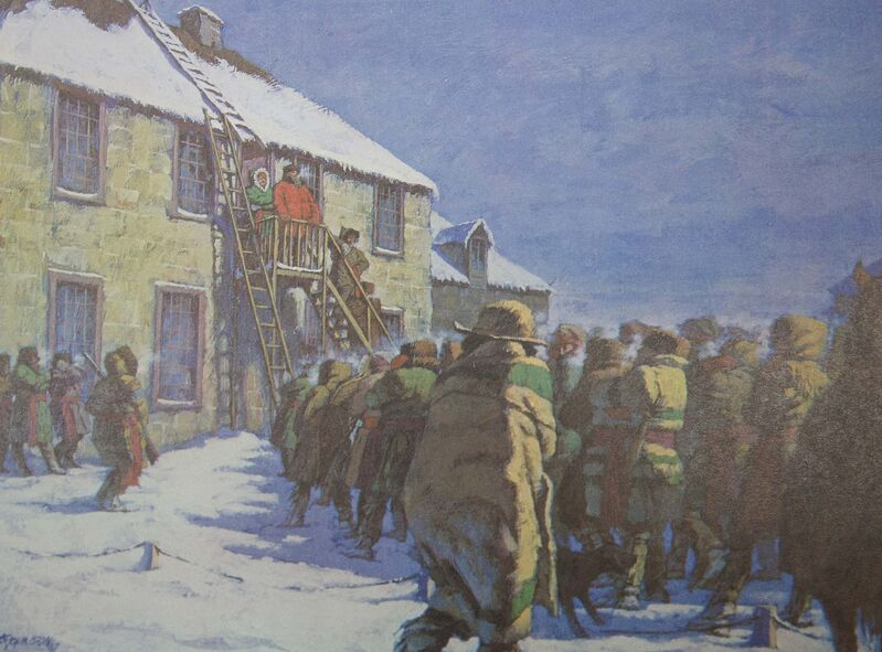 Painting depicts commissioner Donald Smith and Métis leader Louis Riel addressing the crowd at Upper Fort Garry on Jan. 19, 1870.</p></p>