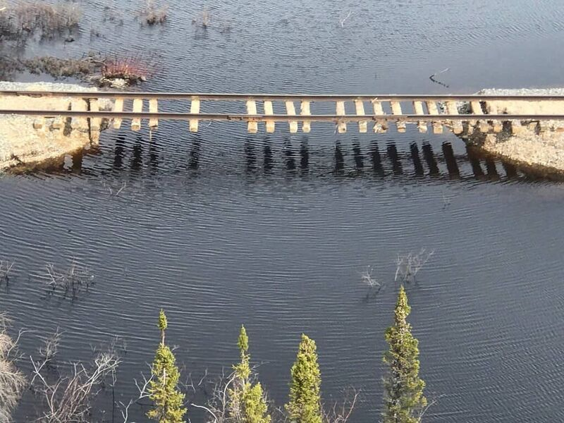 A portion of the Hudson Bay Railway to Churchill, Man. that was washed out in 2017.