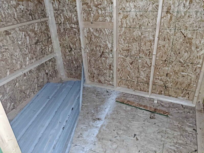Interior of one of the two rudimentary huts that Urban Knights and Ladies Veterans Ambassador Peace Patrol had built by a carpentry class at a high school in Stonewall.  (Supplied)