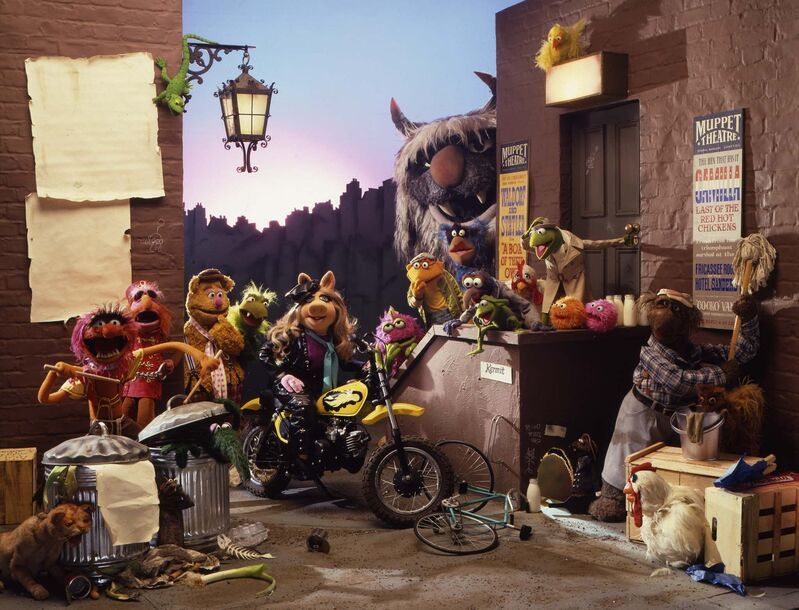 The 'cast' of the Muppet Theatre hanging out back.