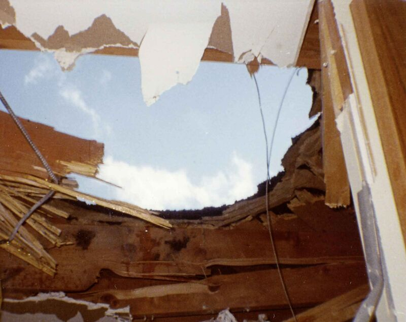 The hole left in the ceiling of Paul's apartment.