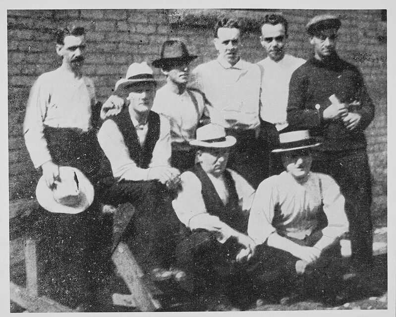 Strike leaders incarcerated at the Vaughan Street jail. Clockwise, from top left: Roger Bray, George Armstrong, John Queen, Robert Russell, Richard James Johns, William Arthur Pritchard, Abraham Albert Heaps and William Ivens.
