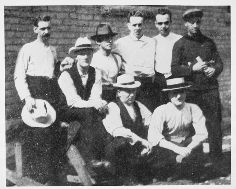 Archives of Manitoba</p><p>Strike leaders at the Vaughan Street Jail in 1920. R.E. Bray (from left), G. Armstrong, J. Queen, W.A. Ivens, R.B. Russell, R.J. Johns, A.A. Heaps and W.A. Pritchard.</p>