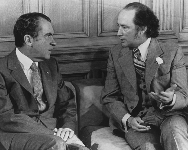 In 1972, U.S. president Richard Nixon and prime minister Pierre Trudeau meet in Ottawa. Trade relations between the two countries soured in the 1970s, and seem poised to do so again. (Chuck Mitchell / The Canadian Press files)