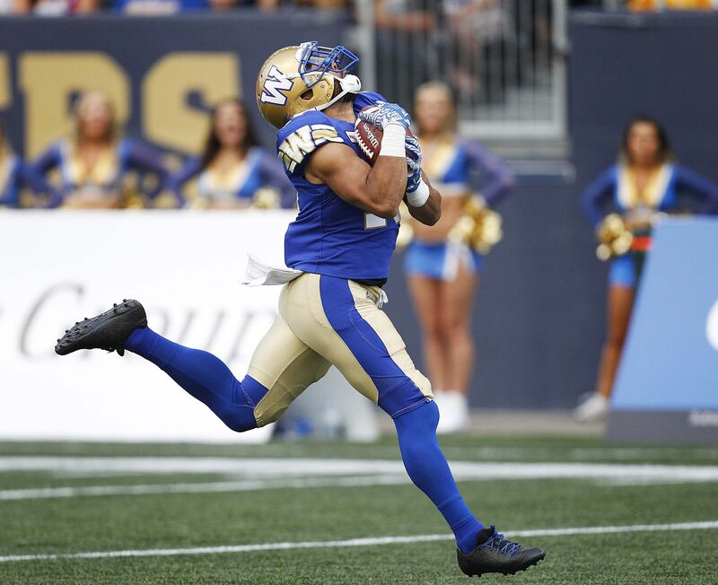 Nic Demski is poised to establish a career high for receiving yards while already putting up a career-best 126 rushing yards in 18 carries. (Phil Hossack / Winnipeg Free Press Files)</p>