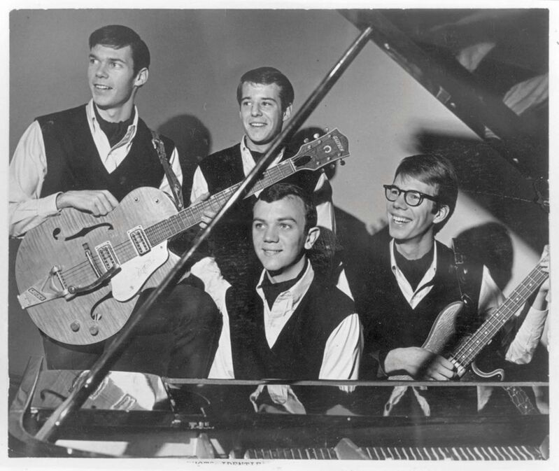 A youthful Neil Young (from left) played with the Squires in the 1960s alongside Bill Edmundson, Ken Koblun and Jeff Wuckert. (The Canadian Press files)