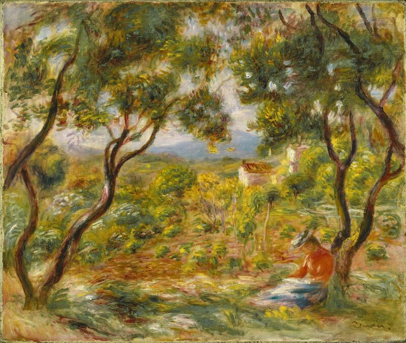 <P><B>Pierre-Auguste Renoir </B></br> <I>The Vineyards at Cagnes,</i> 1908.</br> Oil on canvas, 46.4 x 55.2 cm. </br> Brooklyn Museum.  Gift of Colonel and Mrs. Edgar W. Garbisch, 51.219. </p>