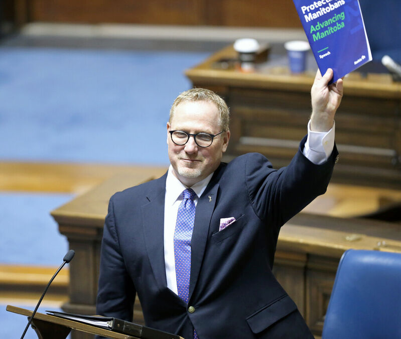 Finance Minister Scott Fielding after Budget 2021 was presented in the Manitoba Legislature on Wednesday.