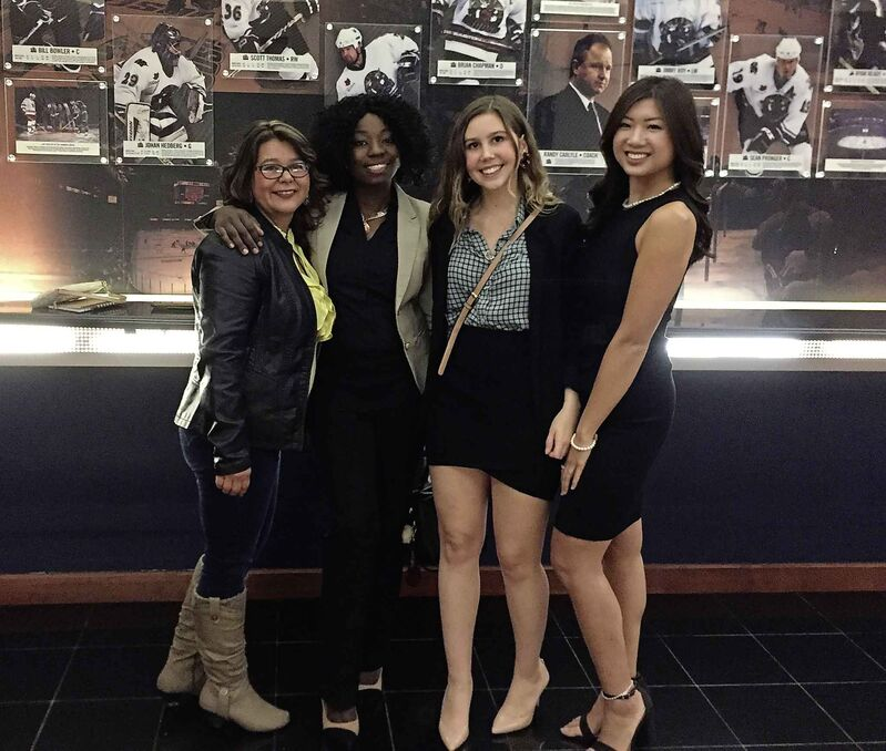 University of Winnipeg students Courtney Bear, Rachelle Kabuha, Sidney Leggett and Beverly Tran got to meet Michelle Obama briefly on Tuesday.