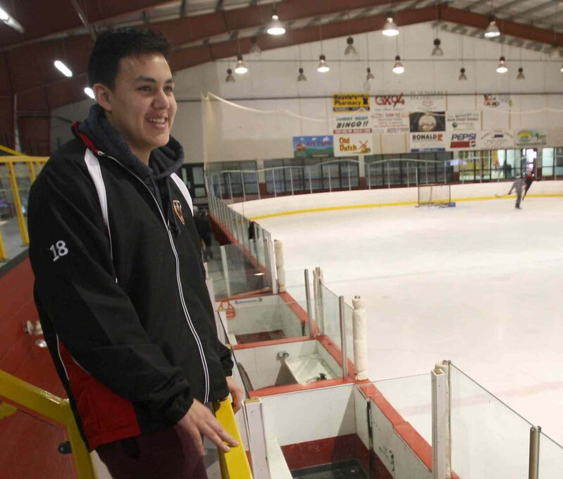 JOE BRYKSA / WINNIPEG FREE PRESS Waywayseecappo Wolverines player Dylan Tanner stands in rink where, as a child, he dreamed of playing on team.