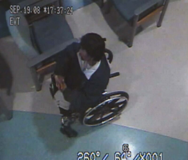 Screen grab from HSC security showing Brian Sinclair during a 34-hour wait in the hospital emergency room.