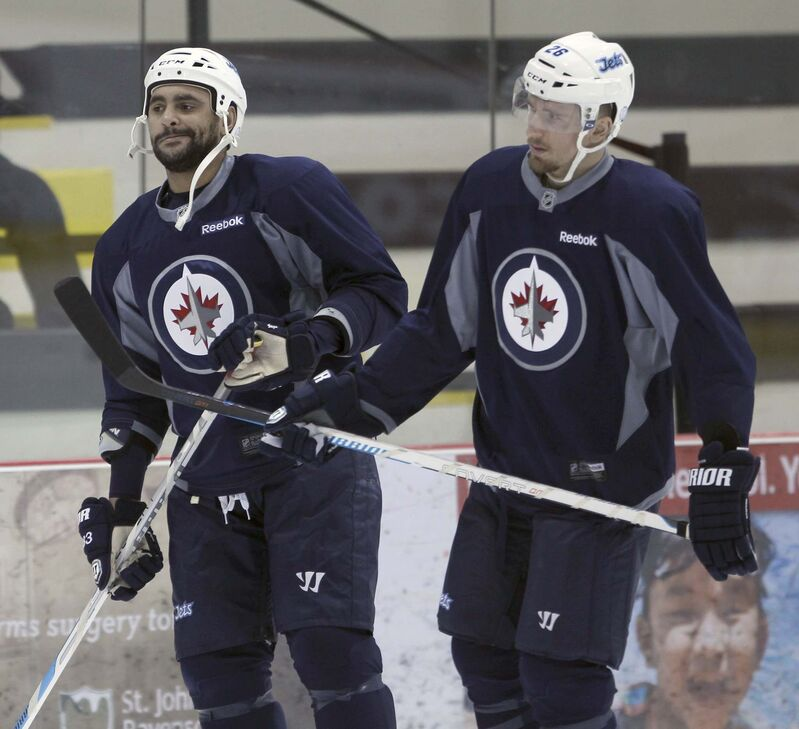 Dustin Byfuglien shouldn't be thought of as a villain, says Blake Wheeler. (Joe Bryksa / Winnipeg Free Press files)