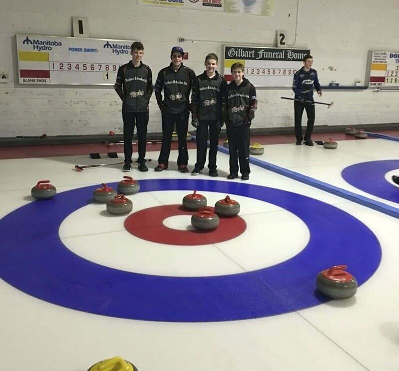 Competitive junior curlers Seth Boschmann (from left), Riel Dufault, Cam Olafson and Liam Wachal with their eight-ender. (Supplied photo)