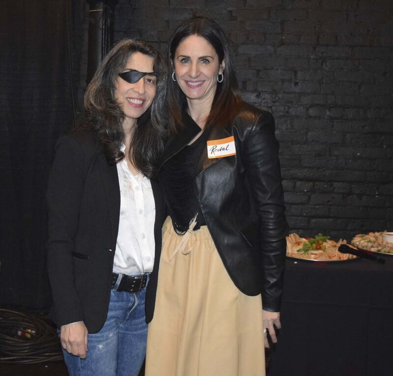 Producer Juliette Hagopian (left) and Manitoba Film and Music CEO Rachel Rusen Margolis at an MF&M party at the Burton Cummings Theatre. (Andrew Gallinger / Manitoba Film and Music)