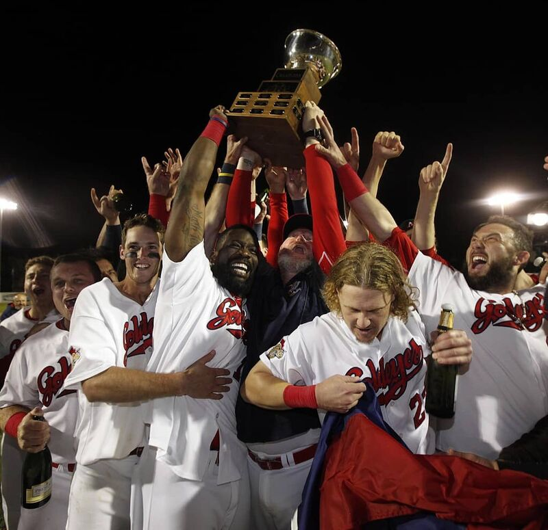 The Winnipeg Goldeyes celebrate after winning the American League Championship in 2017. In it's 26-year history, the team has won 10 division championships and four league titles.