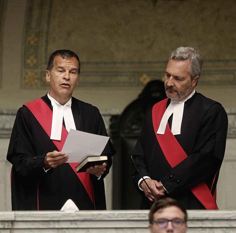 Judge Ken Champagne, left, pictured with Manitoba Court of Queen's Bench Chief Justice Glenn Joyal, was reported to be Wilson-Raybould's choice for replacement of Joyal as chief justice.