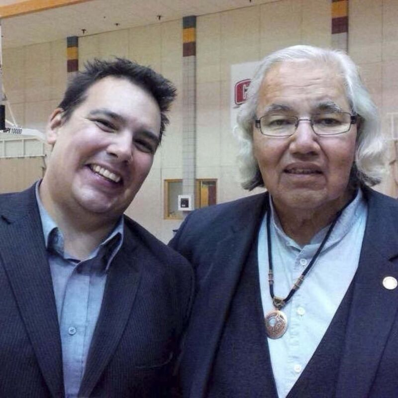Niigaan Sinclair (left) with his father, Sen. Murray Sinclair. (Supplied photo)