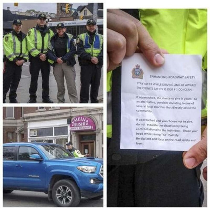 """On Friday the Winnipeg Police Service sent a handful of officers in high-visiblity yellow jackets to city intersections to talk to motorists about the importance of staying alert behind the wheel. The officers gave out slips of paper that encourage motorists to """"be vigilant"""" and focus on the laws of the road."""