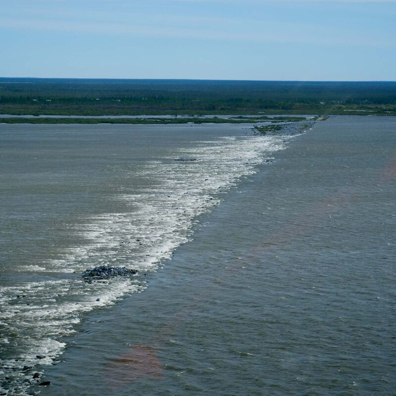 A weir running across the Churchill River was put in by Manitoba Hydro in 1999 to try and fix some of the environmental damage done when the river was diverted.