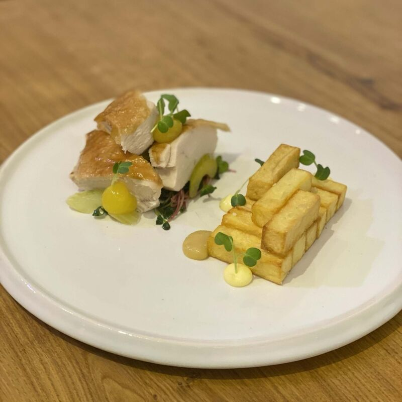 SUPPLIED</p><p>Azulay shows off a homemade dish of chicken, potatoes, pickled celery, horseradish aioli, mango gel, pineapple apple purée and radish sprouts.</p>