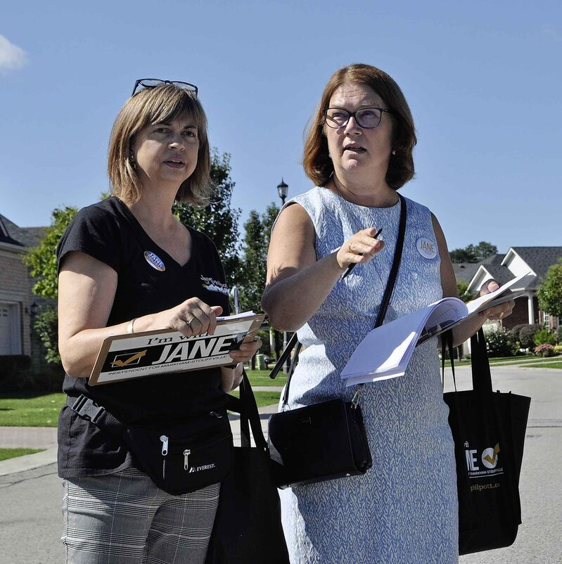 Philpott, right, and her constituency manager Julie Weiss, canvass in the Stouffville district of her Toronto-area riding of Markham-Stouffville.