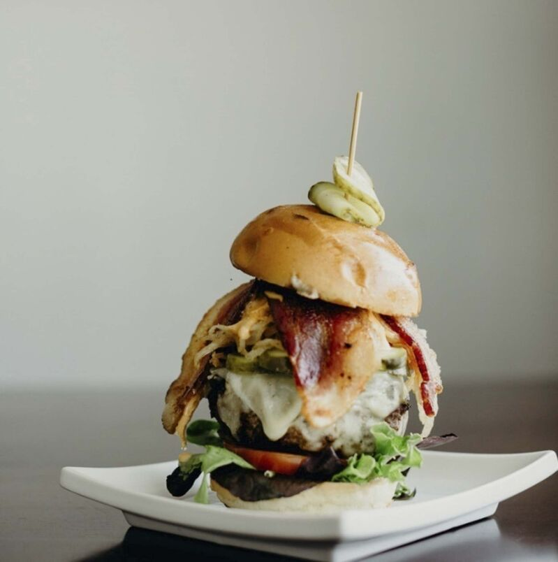 The Mushroom and Swiss Beer Can Burger at the Roblin Grill. (Supplied)