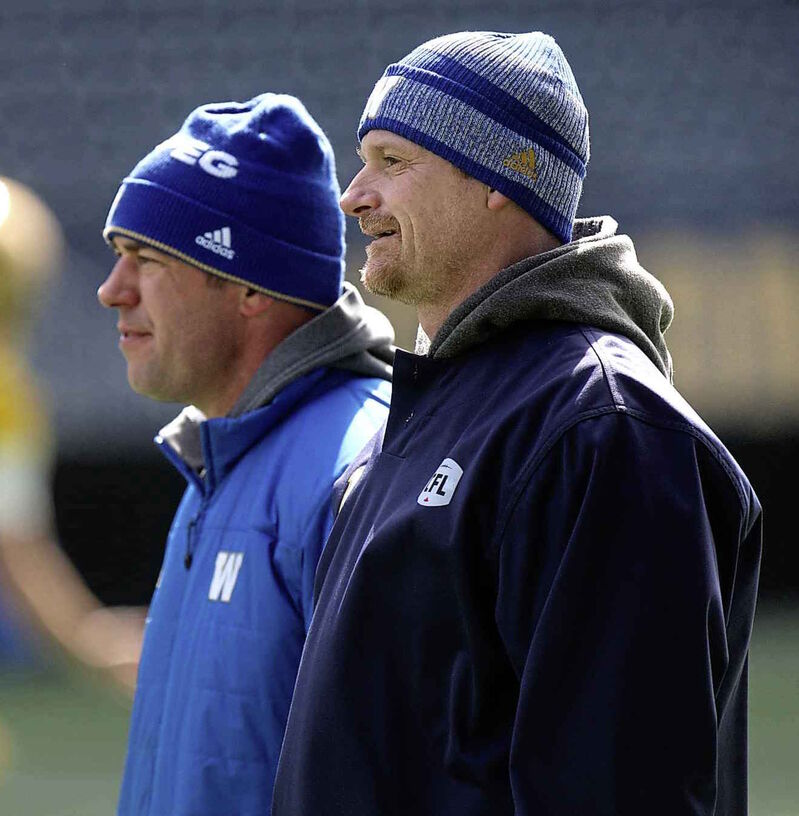 The Blue Bombers signed head coach Mike O'Shea, right, and general manager Kyle Walters to three year extensions in December.