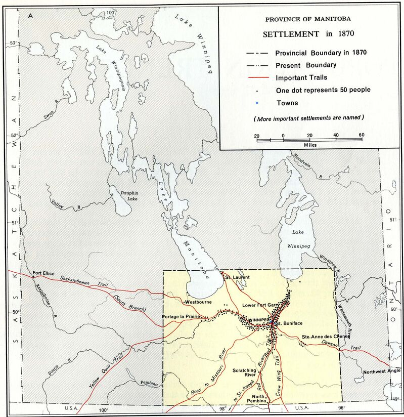 Map of settlement in Manitoba in 1870.