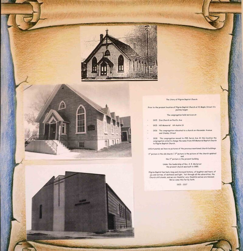 Photos and documents are scattered around the church.