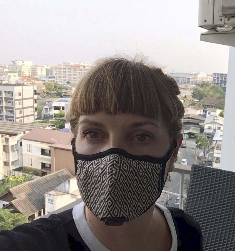 Richards wears a mask in March to protect herself from pollution — not COVID-19. (Supplied)