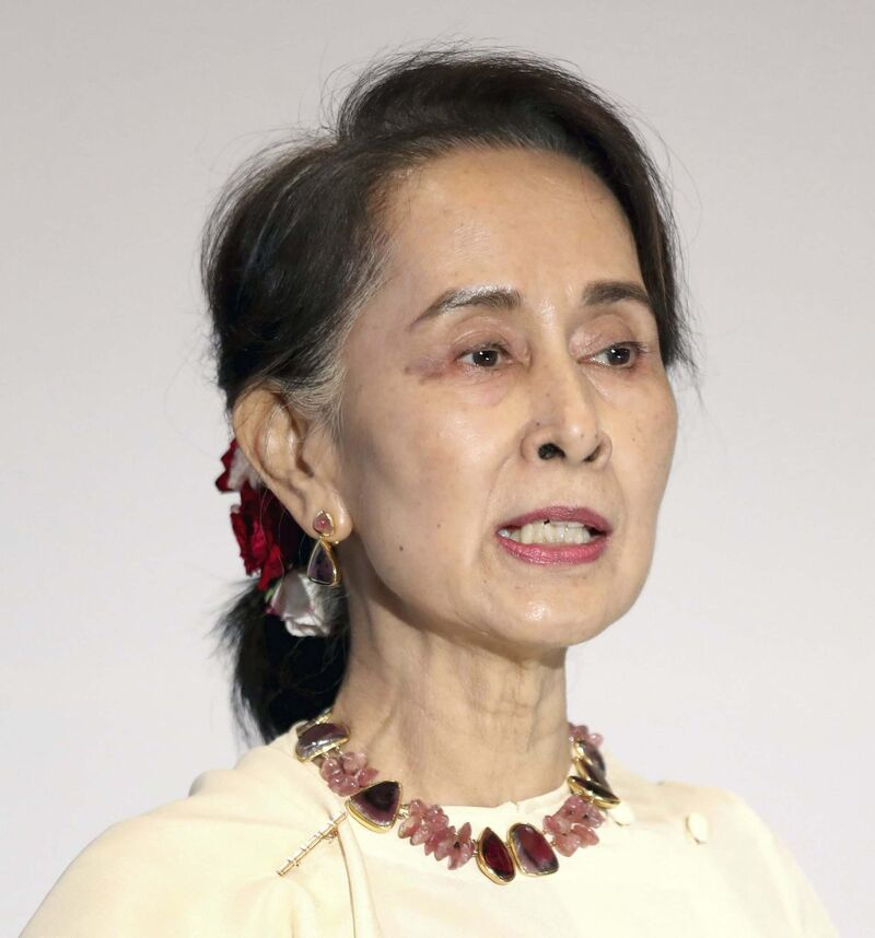 Myanmar civilian leader Aung San Suu Kyi was arrested during a coup by the military. (Paul Miller / Bloomberg files)