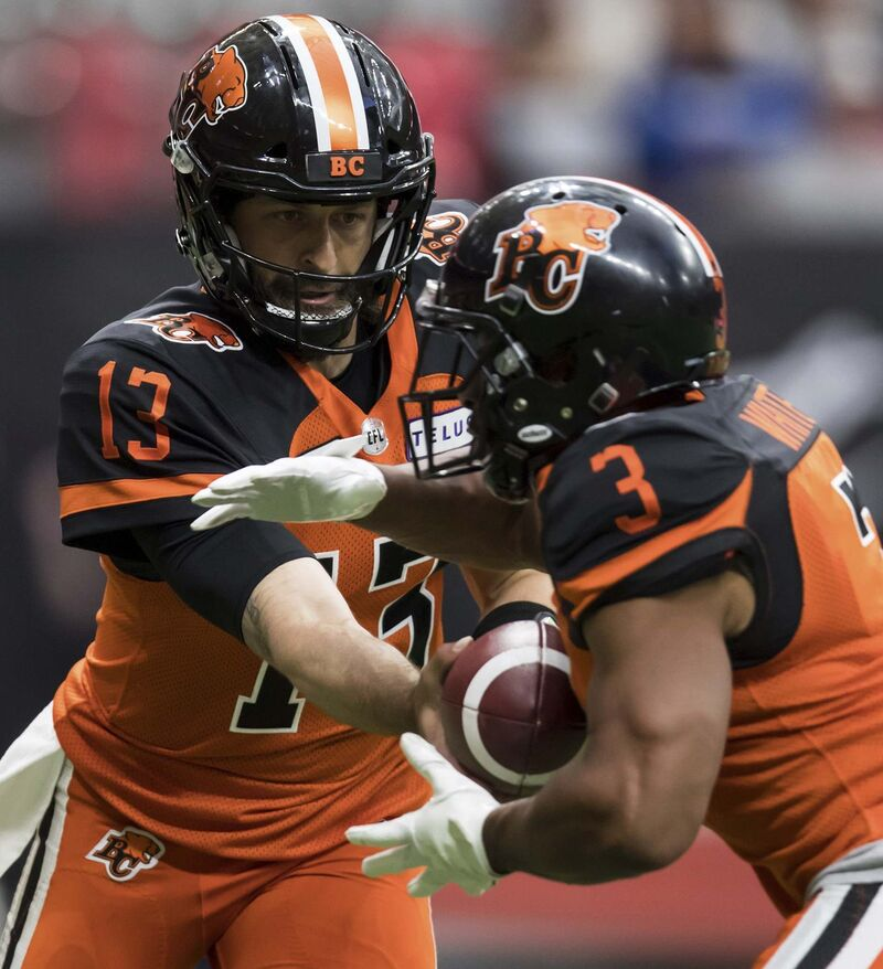 B.C. Lions quarterback Mike Reilly, left, has torched the Bombers defence in the past, when he was a member of the Edmonton Eskimos.
