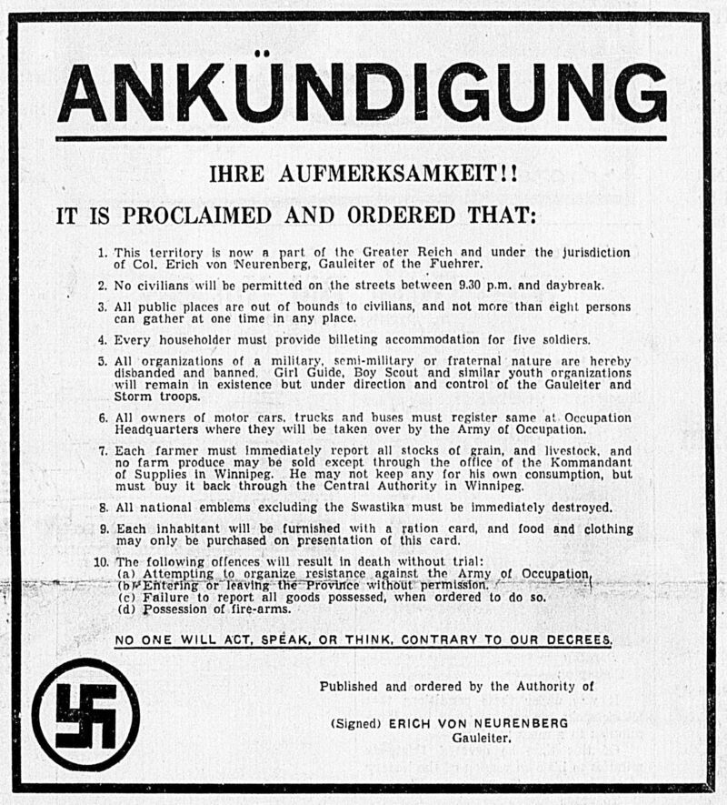 A proclamation printed on the front page of the Winnipeg Tribune on If Day.</p>