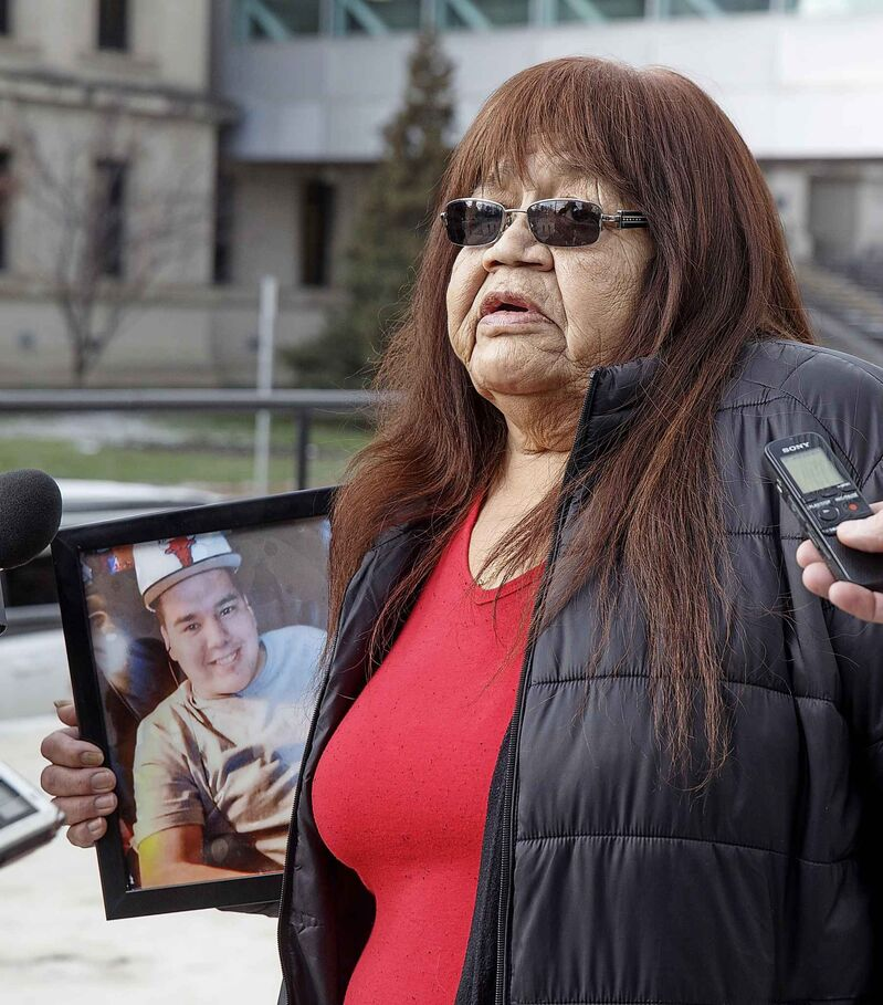 Gloria Lebold, grandmother to 23-year-old Cody Severight who was killed by former Winnipeg Police Constable Justin Holz, speaks to the media after Holz was sentenced to 30 months in jail Wednesday afternoon.