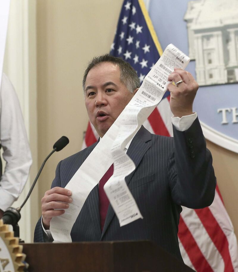 California State Assemblyman Phil Ting wants large retailers, banks and other businesses to provide paper receipts to customers only on request by 2022. (Rich Pedroncelli / The Associated Press)
