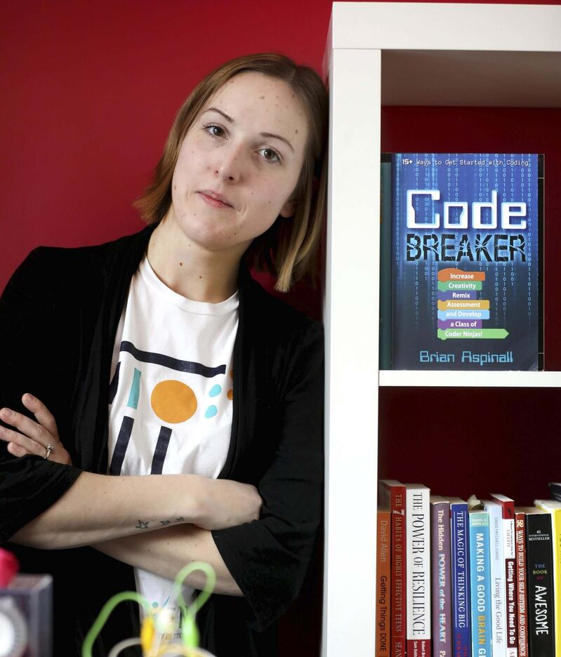 """""""It's really useful in this day and age to have some technical chops and understand how computers are working, even if you're not coding day to day,"""" says Jessica Watson. (Ruth Bonneville / Winnipeg Free Press)"""