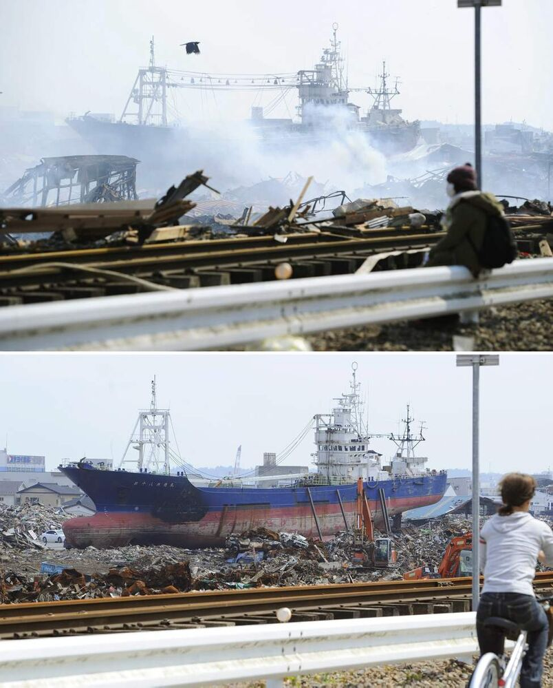 In this combo of two photos, a tsunami-beached ship lies among debris in Kesennuma, Miyagi prefecture, northeastern Japan, on March 13, 2011, days after the devastating earthquake and tsunami hit the area, top, and the same area, bottom, with the ship remained there as photographed on June 3, 2011. Japan marks three months since the March 11 earthquake and tsunami that struck the nation's eastern coast on Saturday, June 11, 2011. (AP Photo/Kyodo News)