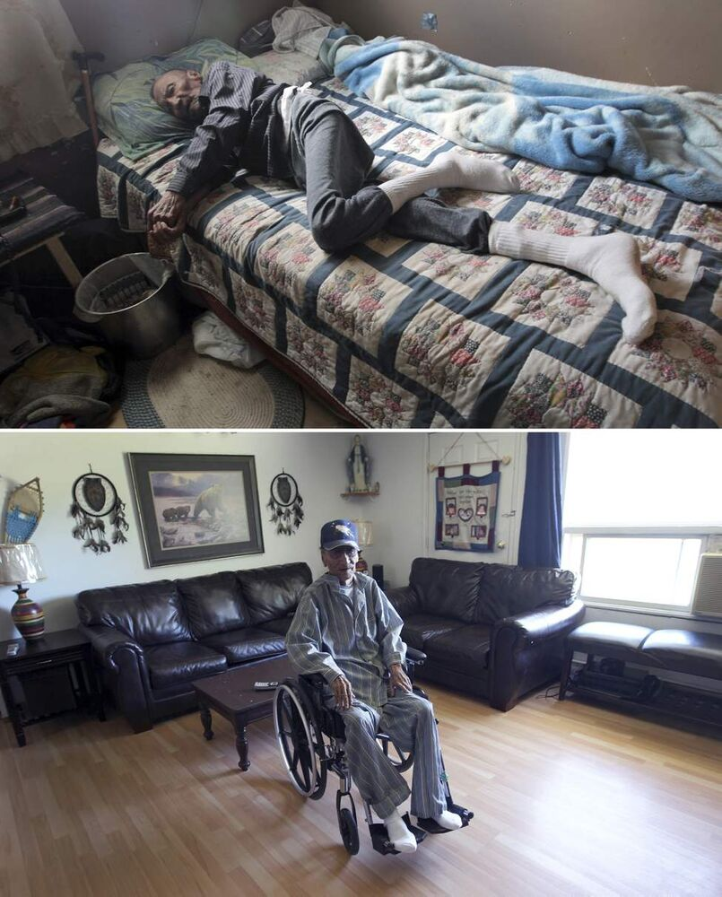 July 2010 - Elder  Zach Harper in his  home  in St.Theresa Point First Nation. Harper has become frail from his past fight with tuberculosis. For years, the family has lived with no running water.   August 2011 - Zach Harper waited 75 years to live in a house with running water. He died a week after his family home at St. Theresa Point First Nation was retrofitted to include running water, a kitchen sink and a proper bathroom in September.  (JOE BRYKSA / WINNIPEG FREE PRESS)