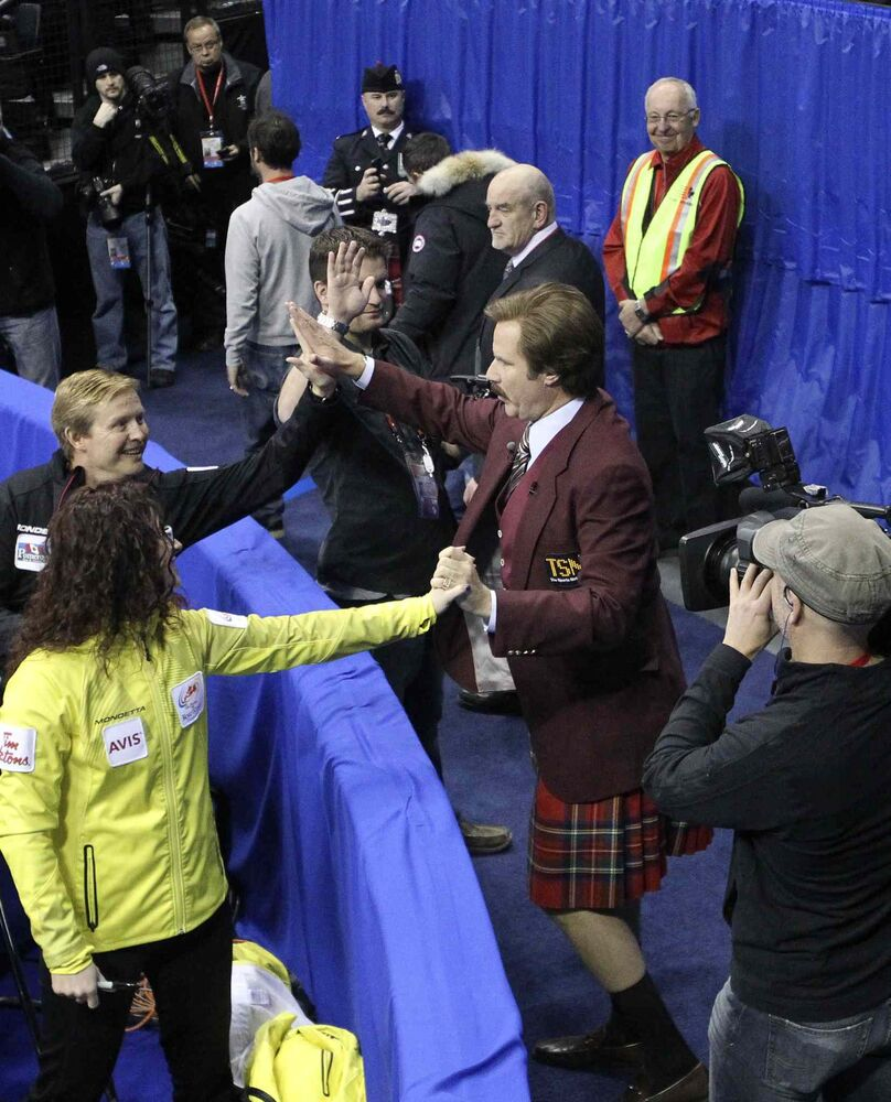 Ron Burgundy presses the flesh Sunday at the MTS Centre. (Miek Deal / Winnipeg Free Press)