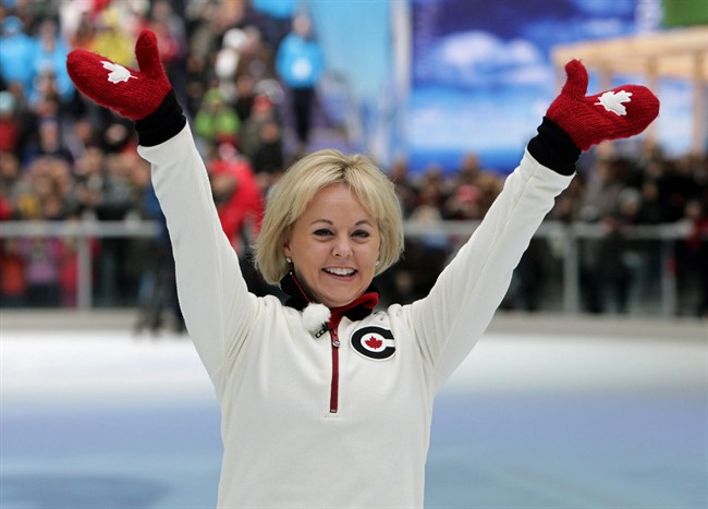 Calgary 1988 Olympic silver medallist in figure skating Elizabeth Manley, of Canada, waves to the crowd prior to skating with gold medallist Katarina Witt, of Germany, in Vancouver, B.C., on Sunday February 7, 2010. The late freesty;e skier Sarah Burke and Manley are among those heading to Canada's Sports Hall of Fame. THE CANADIAN PRESS/Darryl DycK