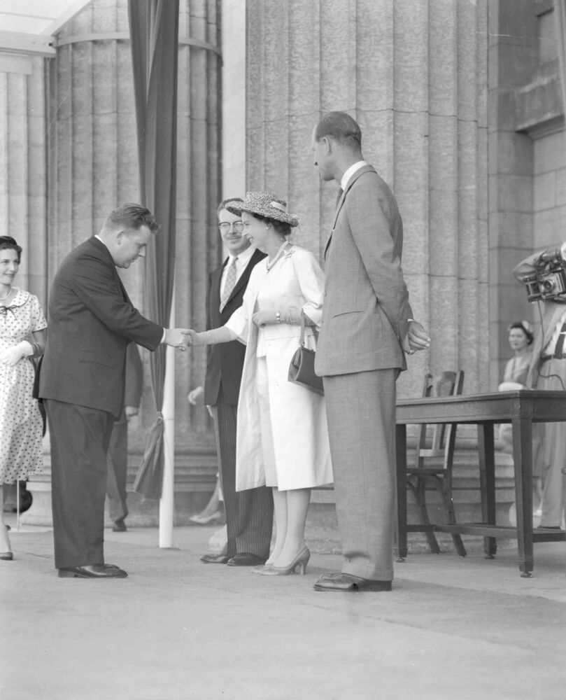 Queen Elizabeth visit to Winnipeg - July 24, 1959 - with Premier Duff Roblin (on her right) and Prince Phillip Jack Ablett / Winnipeg Free Press