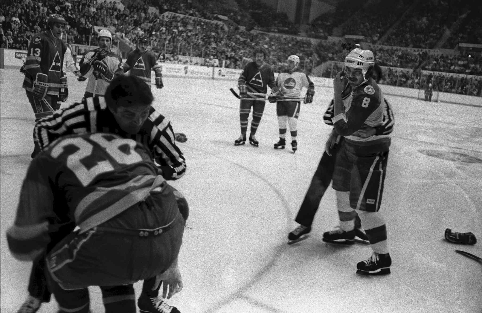 Jimmy Mann (#8) is seen after fight during a game with Colorado Rockies at the Winnipeg Arena in November 1981.  (Ken Gigliotti / Winnipeg Free Press files)