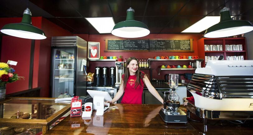 MIKAELA MACKENZIE / WINNIPEG FREE PRESS<p/> Allison Slessor hopes her North End coffee shop, Modern Coffee, is a welcome addition to her neighbourhood.