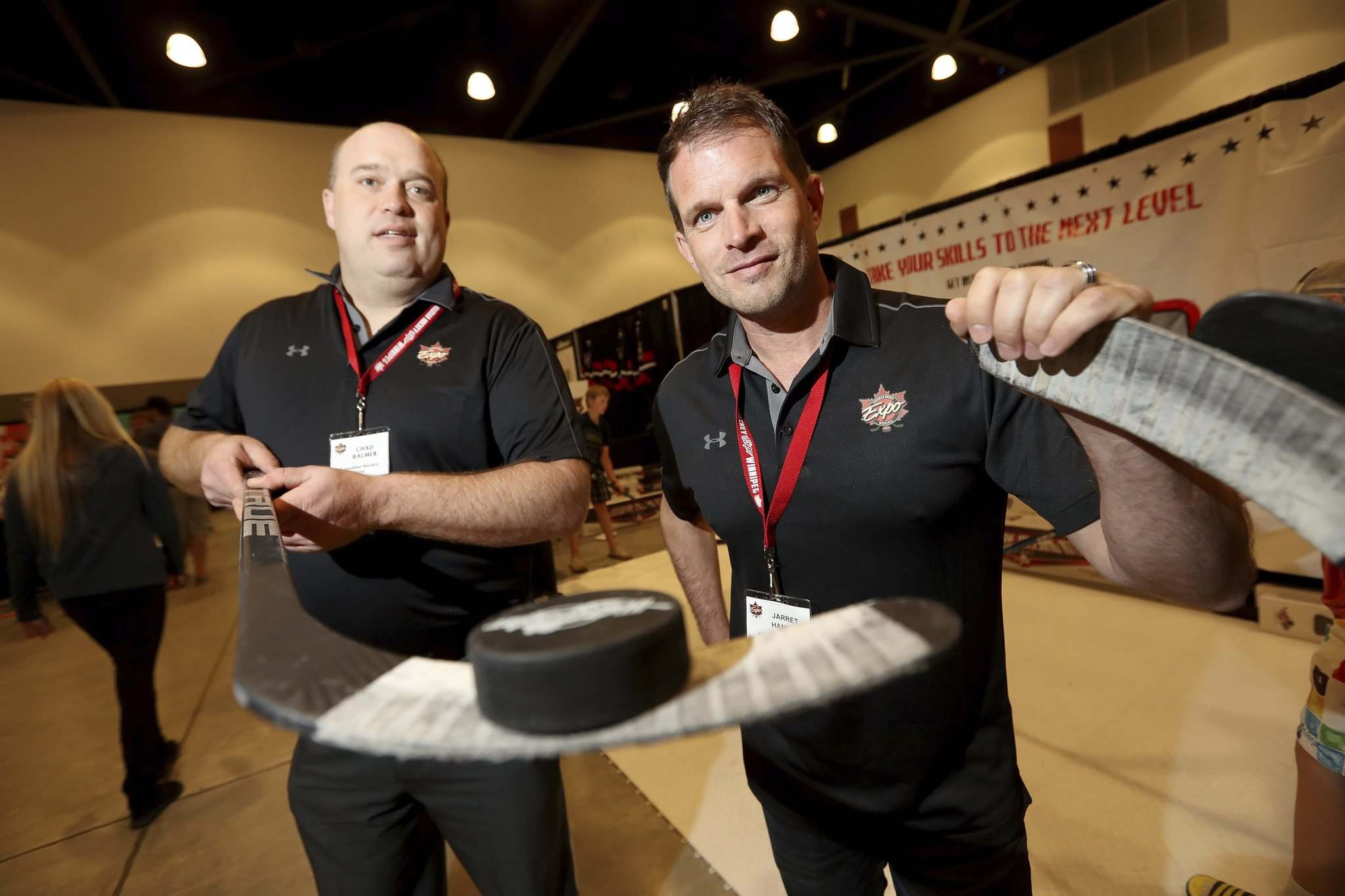 TREVOR HAGAN / WINNIPEG FREE PRESS</p><p>Chad Balmer and Jarret Hannah, organizers of the Canadian Hockey Expo at the Convention Centre, Saturday, June 11, 2016.</p>