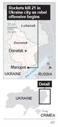 Map shows eastern Ukrainian city of Mariupol, where rebels fired rockets.; 1c x 3 inches; 46.5 mm x 76 mm;