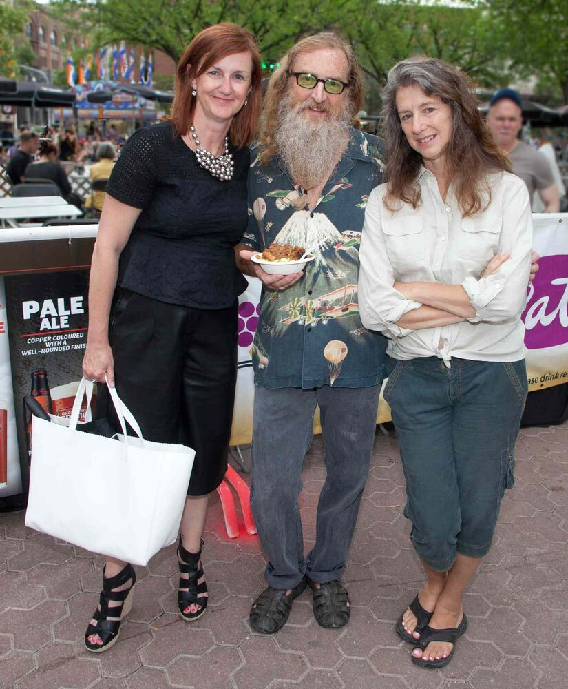 The 28th annual Winnipeg Fringe Theatre Festival is in full gear, with a plethora of entertainment to take in. The festival runs until July 26, 2015, and there¹s entertainment at Old Market Square every day until midnight. Pictured, from left, are Clare MacKay, Jordan Van Sewell and Joanne Vanderhorst. (JOHN JOHNSTON / WINNIPEG FREE PRESS)